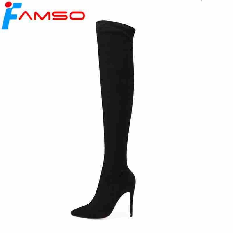FAMSO 2018 New Shoes Womens Boots Black Brown Autumn Thigh High Boots High Heels Pointed toe Sexy Winter Suede Boots For Women