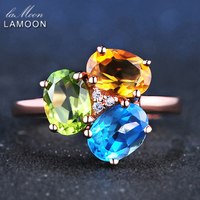 LAMOON 3pcs 3ct Oval Yellow Citrine Green Peridot Blue Topaz 925 Sterling Silver Jewelry Rose Gold
