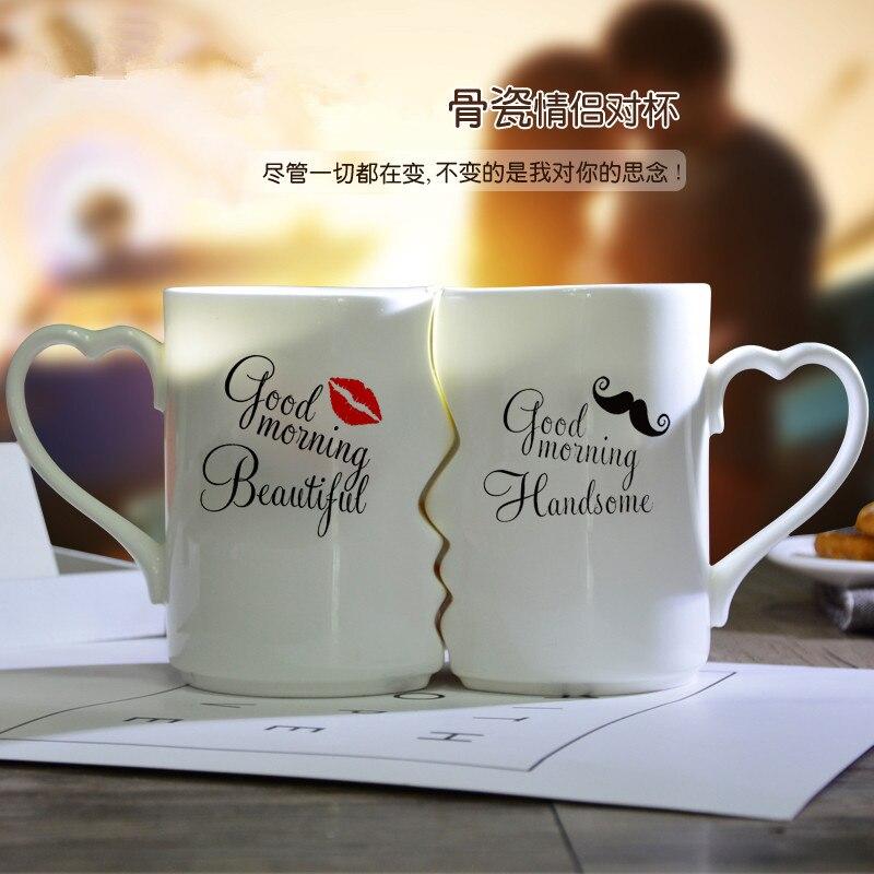 1 par dia dos namorados presente beijar porcelana xícara de chá presente para namorada namorado presente esposa marido aniversário presente