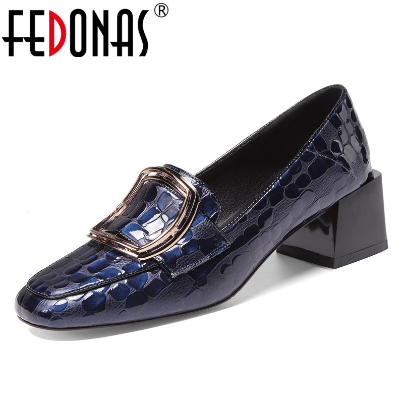 FEDONAS Female Genuine Leather Retro Party Shoes Woman Spring Autumn Slip-on Shallow Shoes Women New Square Toe High Heels Pumps
