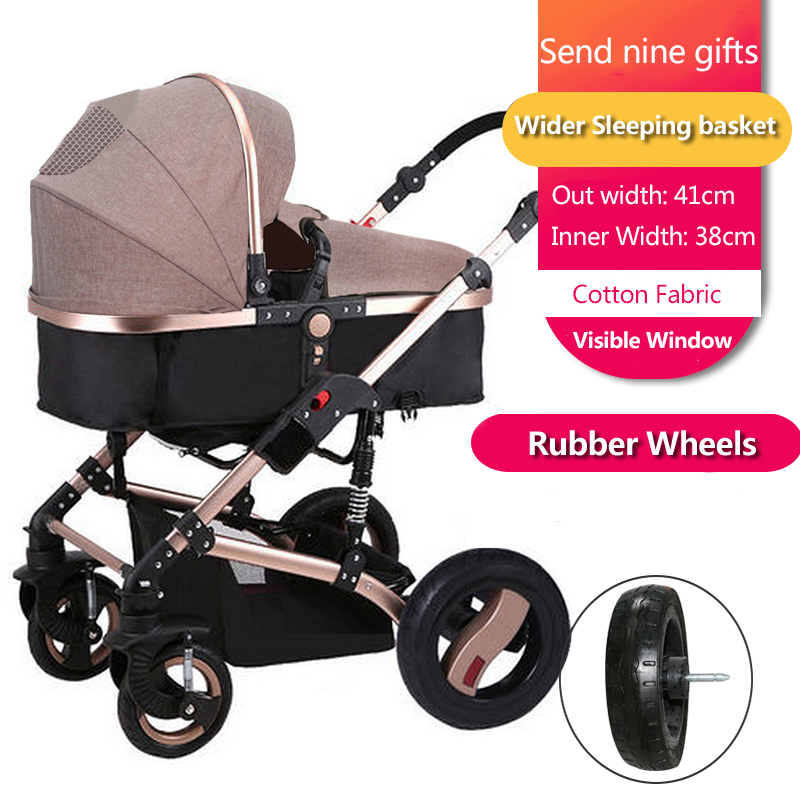 Teknum 2-in-1 stroller high landscape baby trolley can sit can lie BB carriage folding four seasons general trolley child car high landscape baby stroller can sit and lie in a folding baby four seasons universal newborn baby summer baby stroller