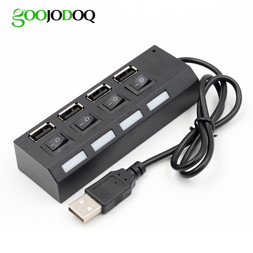 """GOOJODOQ 4 Port Mini USB Hub 2.0"" USB skirstytuvo adapteris Nešiojamas USB 2.0 Hub 480 Mbps LED įjungimo / išjungimo jungiklis kompiuterio nešiojamam kompiuteriui"
