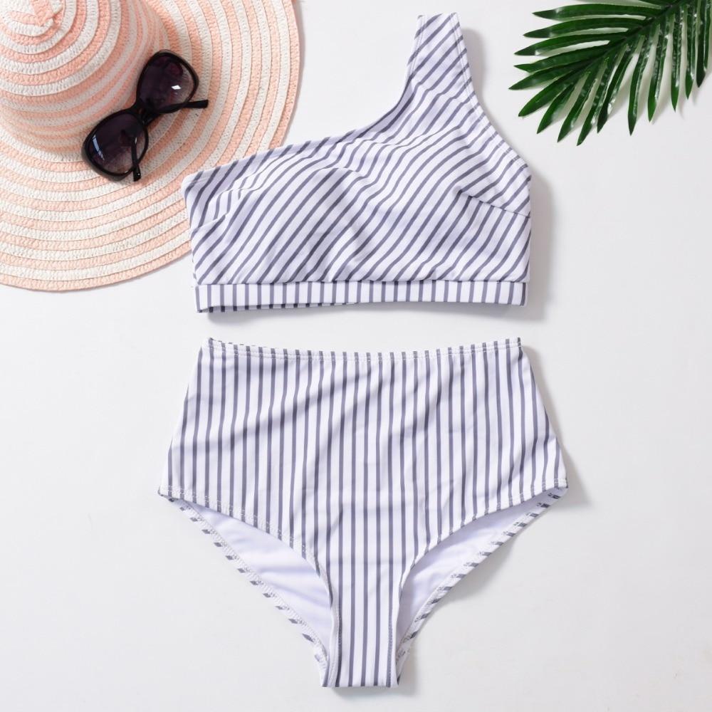 bf3cbe3e089 YOUDIAN High Waist Tankini Plus Size Swimwear Push Up Women One Shoulder  Off Swimsuit Two Piece Ruched Bikini Swim Bathing Suit