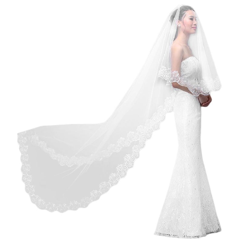Women Pure White Wedding Veil 3M Long Embroidered Floral Lace Scalloped Edge Bridal Cathedral 1 Layer Party Accessories