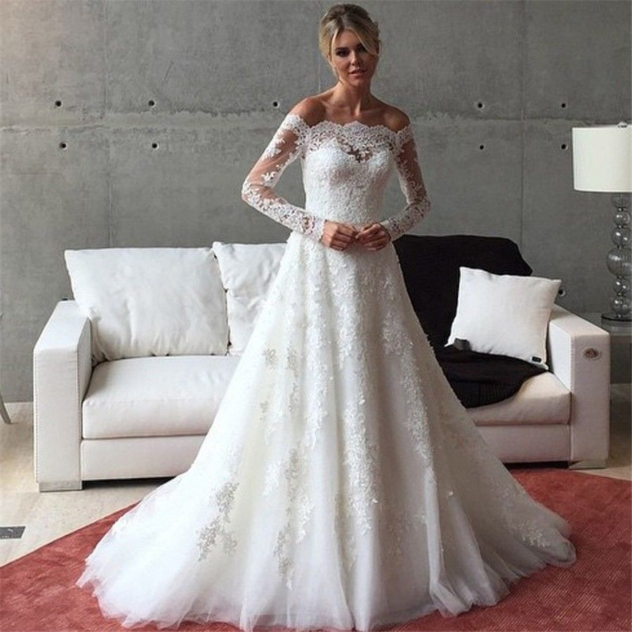 Off Shoulder Saudi Arabia Muslim Wedding Dresses 2017 Full Long Lace Sleeve Country Bridal Gowns Boat Neck Vestido De Noivas In From