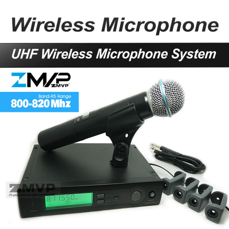 ZMVP UHF Professional SLX24 BETA58 Wireless Microphone Cordless SLX Karaoke System With Handheld Transmitter Band R5 800-820Mhz ur6s professional uhf karaoke wireless microphone system 2 channels cordless handheld mic mike for stage speech ktv 80m distance