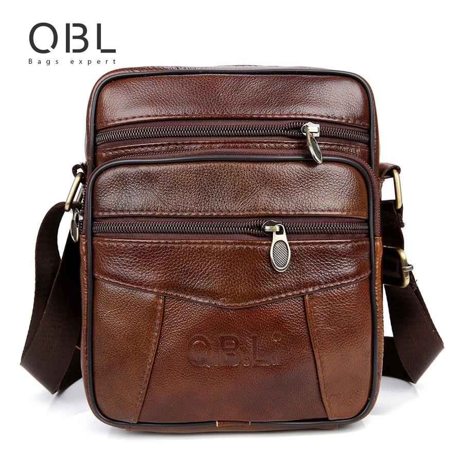 QiBoLu Kuh Echtes Leder Messenger Bags Männer Reise Business Umhängetasche umhängetasche für Mann Sacoche Homme Bolsa Masculina MBA19
