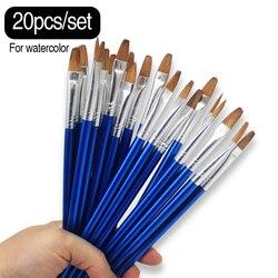 Memória 20 pces por lote pequenas pincéis de pintura em aquarela redonda alça de madeira marca melhor pincel de pintura conjunto