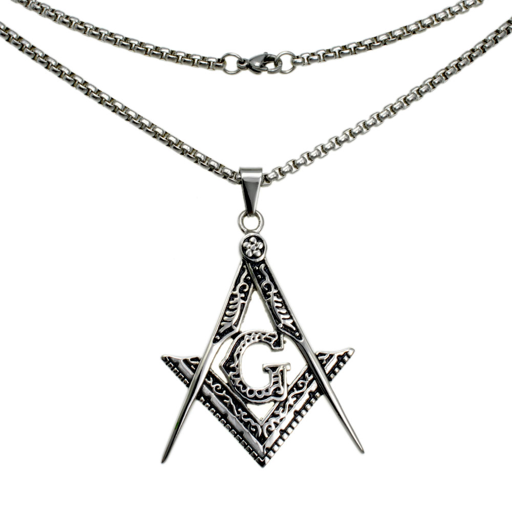 men White gold filled Freemasonry Masonic Mason Pendant Free chain necklace N282 50 60 70 80cm length