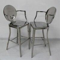 Коммерческая мебель Полный нержавеющая сталь 4 ножки, обеденный стул барный стул Высокая подножка барный стул высокий табурет со спинкой
