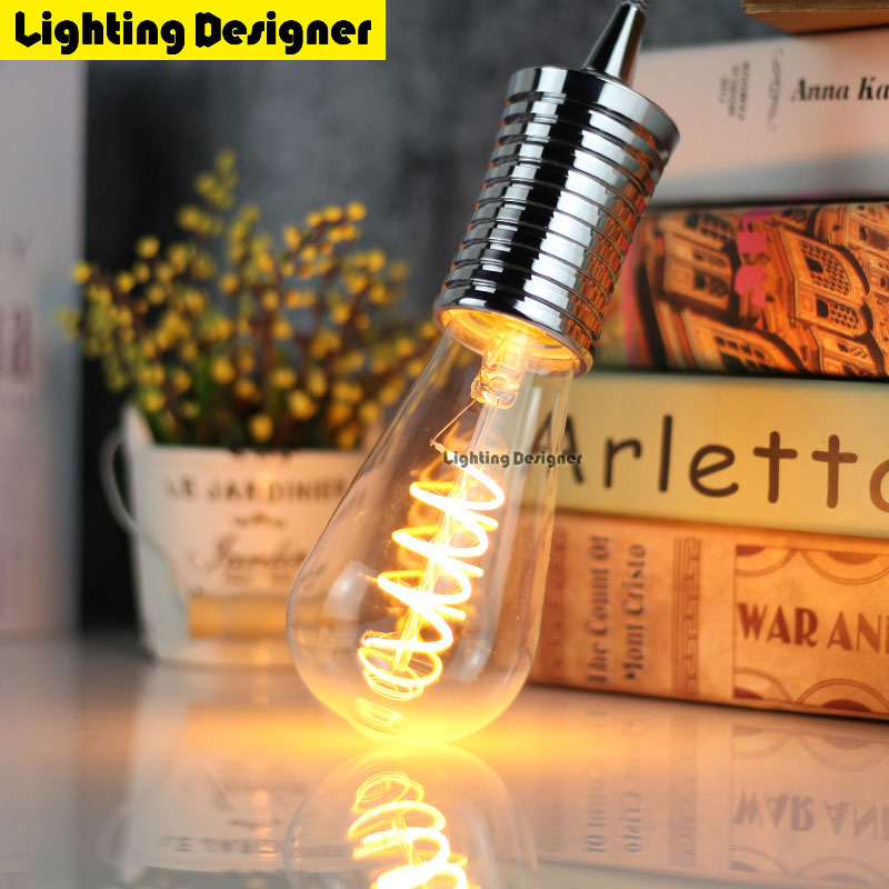 Led light bulb st64 Orange led lamp e27 vintage edison filament bulb 220v power led energy saving lamp for home decor lamparas smart bulb e27 7w led bulb energy saving lamp color changeable smart bulb led lighting for iphone android home bedroom lighitng