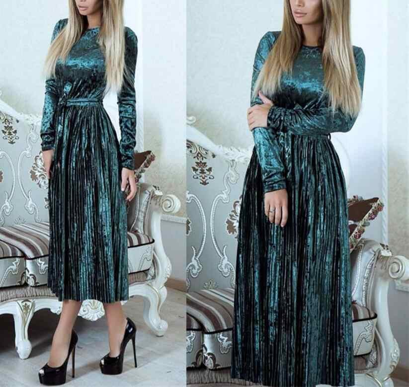 d08c9fec099 Модные женские платья осень-зима плиссированные бархатные платья с длинным  рукавом Теплые Элегантные велюровое платье
