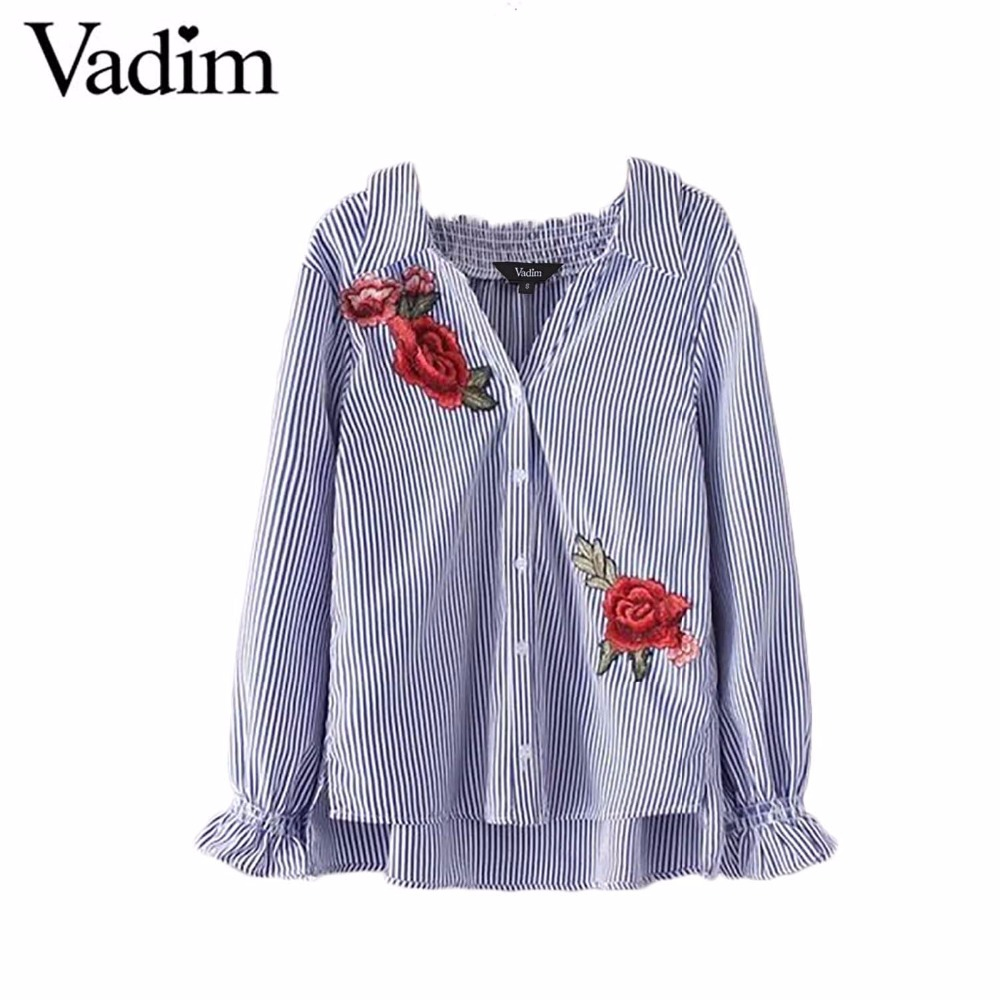 Women elegant flower embroidery patch striped blouse long