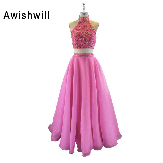 New Arrival Hot Pink Beaded Prom Dresses 2018 Evening Gown Two ...