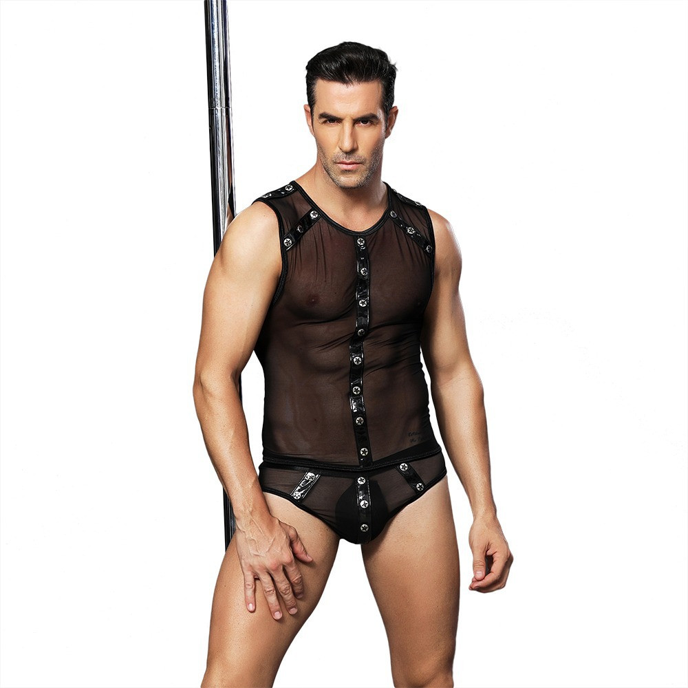Erotic Male Waiter Outfit Cosplay Costume Sexy <font><b>Lingerie</b></font> Transparent Undershirt Tee Shirt <font><b>Gay</b></font> Slim Male Tops Breathable Clubwear image