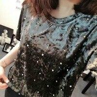 Punk Beading Velvet T Shirt Rivets Shirts Short Sleeved O Neck Beaded Tees Casual Loose Hedging