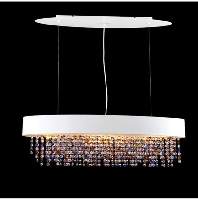 Dining room Oval shape Colorful Luminaria pendant lamp E27 led luz modern large colored Led crystal pendant light wedding light