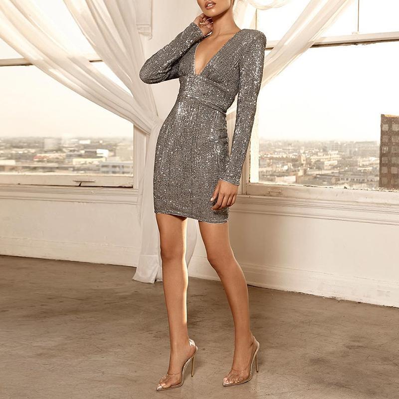 Women Fashion Elegant Sexy Slim Fit Cocktail Mini Sparkly Dresses Sequin Glitter Deep V Open Back Party Dress