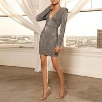 Women Fashion Elegant Sexy Slim Fit Cocktail Mini Sparkly Dresses Sequin Glitter Deep V Open Back Party Dress