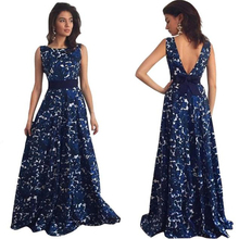 Blue Ball Gown Floor-Length Dress Flare Sleeve Print Mulheres Vestidos Summer Dresses Free shipping&Wholesale Graceful The New
