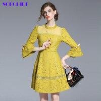 SORCHIDF 2017 European Design Spring Autumn Women Floral Lace Dresses Plus Size 4XL Hollow Lace Women