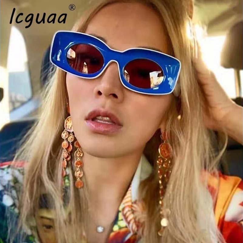 New Fashion Square Sunglasses Women Men Summer Trendy Brand Designer Red Blue Yellow Pink Female Frame Sun Glasses UV400 in Women 39 s Sunglasses from Apparel Accessories
