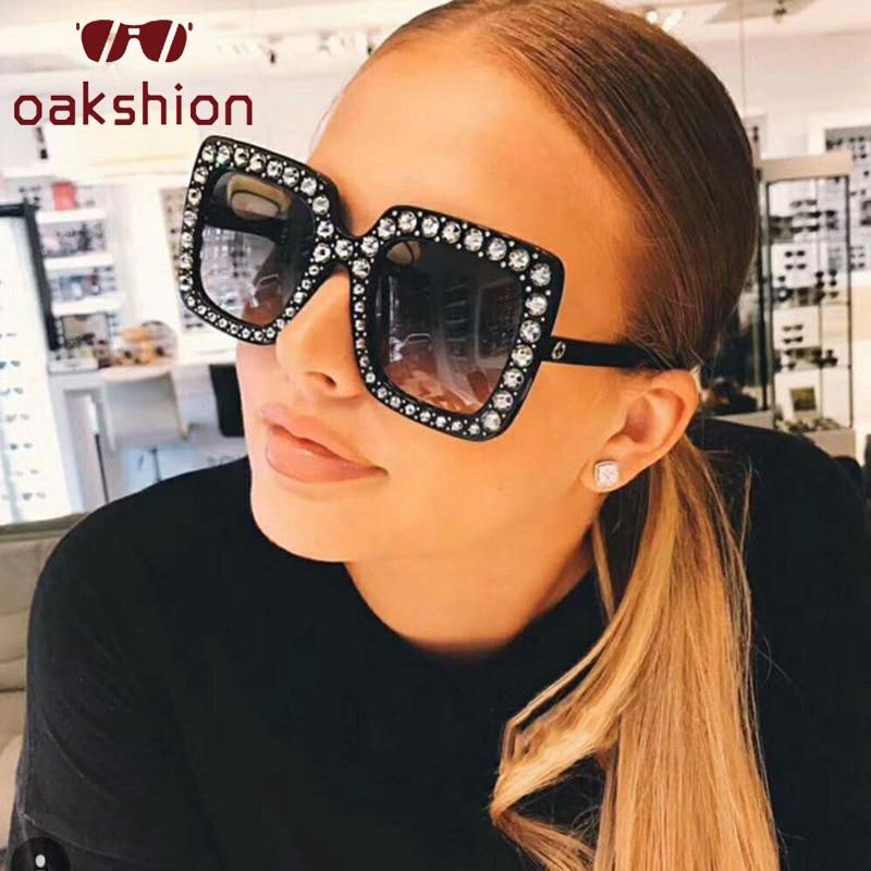 Oakshion New Fashion Women Oversized Frame Square Sunglasses Female Luxury Vintage Big Bling Sun Glasses UV400 Shades 2018