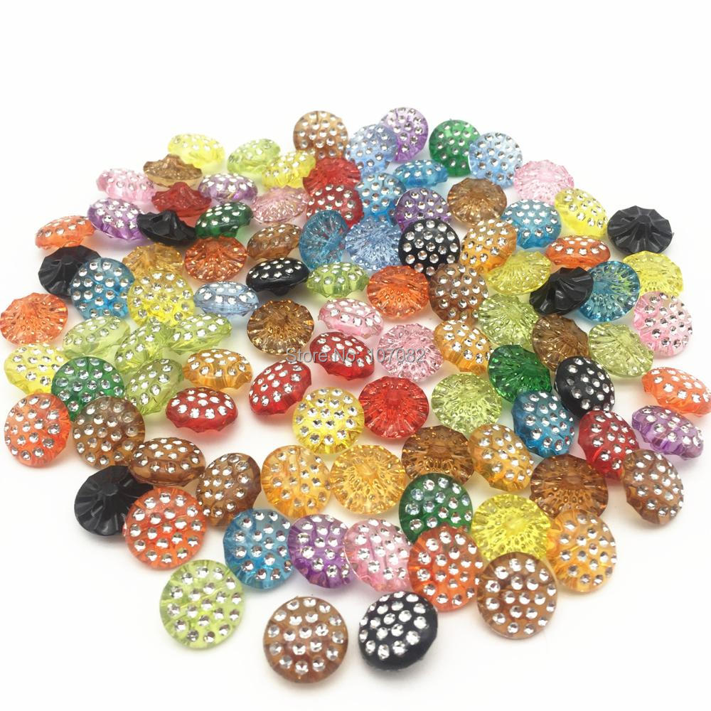Home & Garden Buttons 800pcs 13mm Crystal Mixed Acrylic Buttons Round Silver Drill Rhinestone Baby Fancy Button Coat Boots Sewing Clothes Accessory Curing Cough And Facilitating Expectoration And Relieving Hoarseness