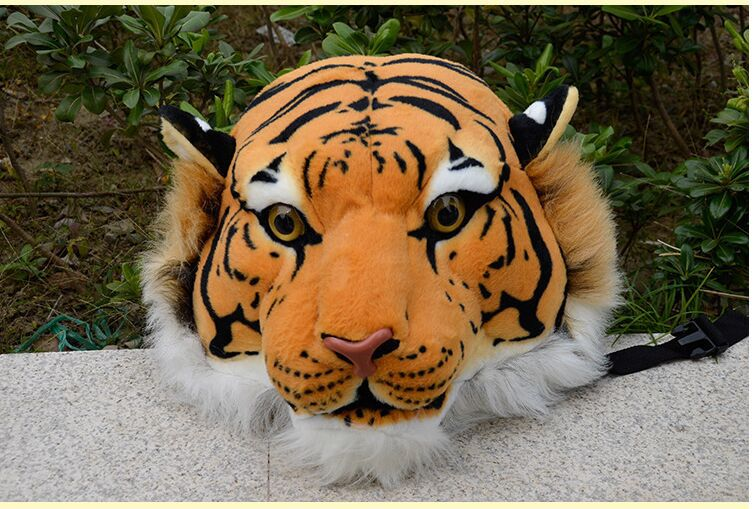 simulation tiger head backpack stuffed steller's backpack yellow tiger head backpack gift doll stuffed animal 110 cm plush simulation lying tiger toy emulation yellow tiger doll great gift free shipping w400