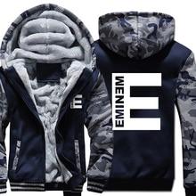 Eminem Hoodie Men Zipper Kpop Hooded Sweatshirt Coat New Winter Thick Fleece Warm Hip Hop Streetwear Camouflage Punk Rock Jacket musci cat hoodie men dj kpop hooded sweatshirt coat winter warm fleece thick punk rock jacket high quality hip hop sportswear