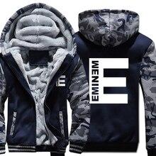Eminem Hoodie Men Zipper Kpop Hooded Sweatshirt Coat New Winter Thick Fleece Warm Hip Hop Streetwear Camouflage Punk Rock Jacket