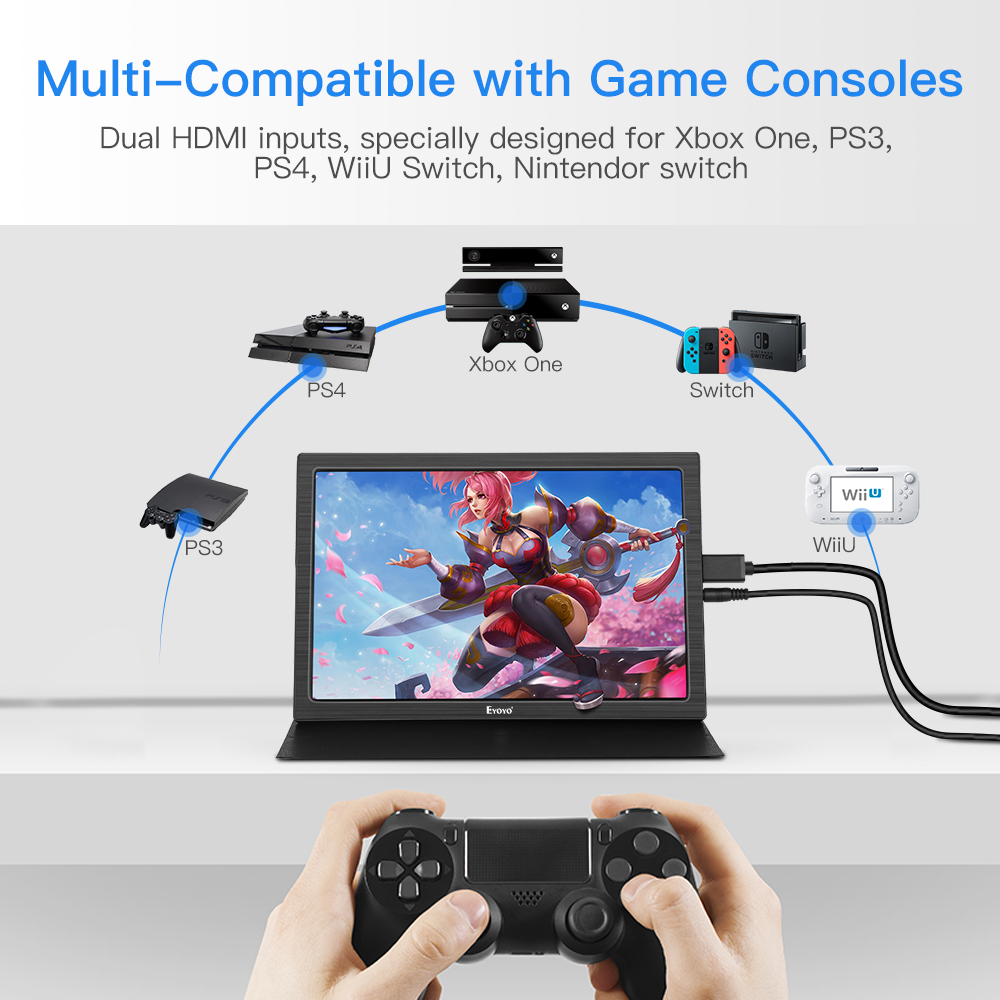 EYOYO 10 quot inch Portable gaming monitor IPS LCD Display Portable Monitor HDMI PS4 XBOX PC Laptop Raspberry 3 ordenador port til in LCD Monitors from Computer amp Office
