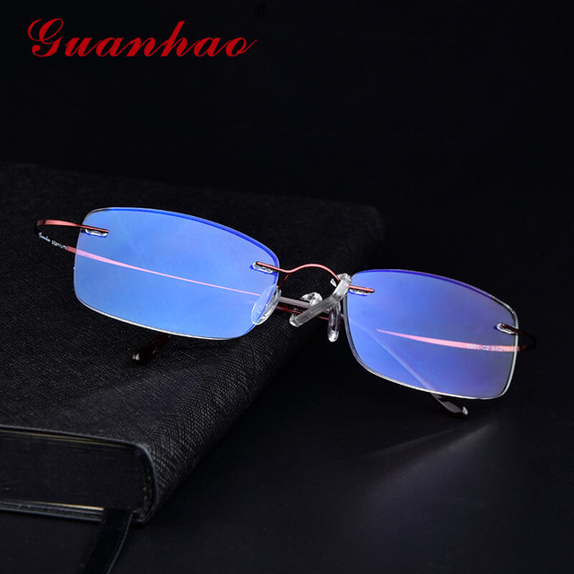 16c704381e4 Guanhao Titanium Anti Blue Light Ray Ultralight Reading Glasses Man Women  Rimless Rectangle Spectacles Vintage Computer Glasses