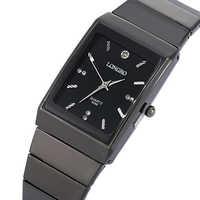 Fashion Rectangle LONGBO Brand Japan Quartz Clocks Men Full Black Stainless Steel Band High cost performance Wristwatch Movement
