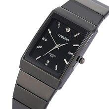 Мода прямоугольник LONGBO бренд Япония кварцевые часы для мужчин полный черный нержавеющая сталь Группа высокая стоимость работы наручн