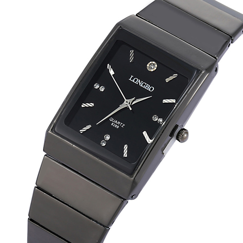Fashion Rectangle LONGBO Brand Japan Quartz Clocks Men Full Black Stainless Steel Band High cost performance Wristwatch Movement