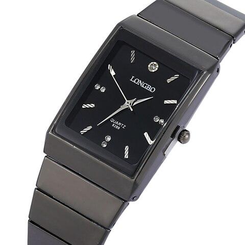 Relojes de cuarzo de la marca de LONGBO del rectángulo de moda de los hombres de la correa de acero inoxidable del negro del movimiento del reloj de pulsera del alto costo