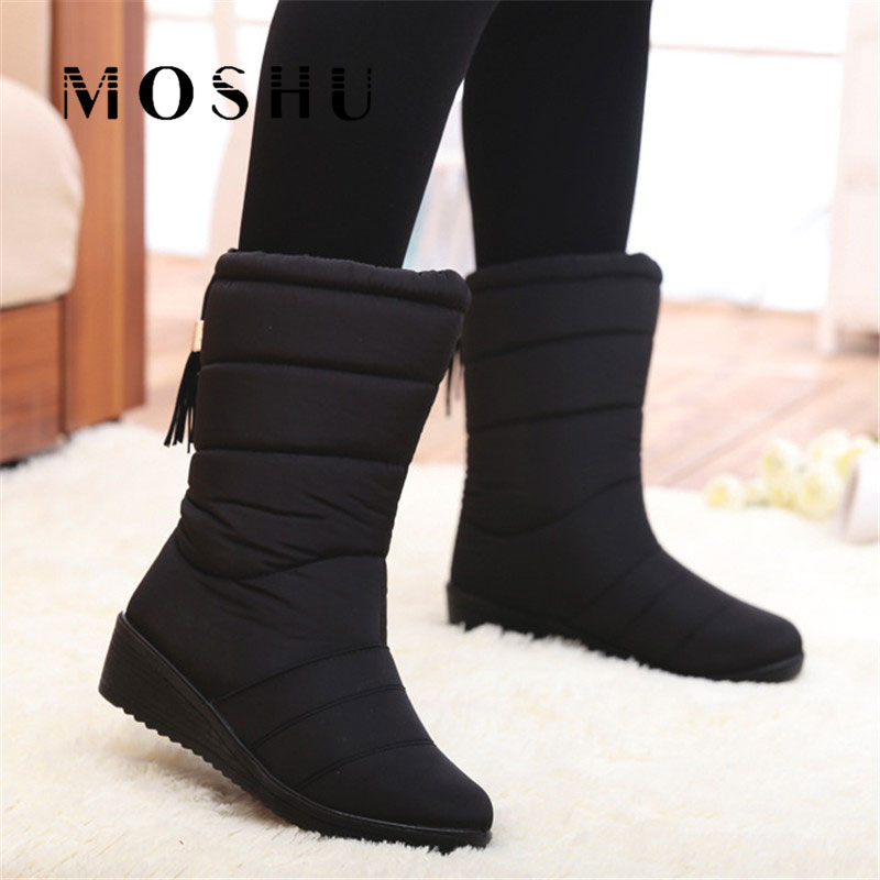 Winter Women Boots Female Waterproof Tassel Ankle Boots Down Snow Boots Ladies Shoes Woman Warm Fur Botas Mujer Elastic Band brand women boots thicken warm winter ladies snow boot women shoes woman fur ankle boots chaussure femme botas mujer 2017 svt905
