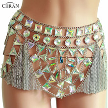 Chran Sexy Mesh Disco Sequin Skirt Tassels Mirror Bodysuit Dress Body Chain Exotic Burning Man Rave Outfit