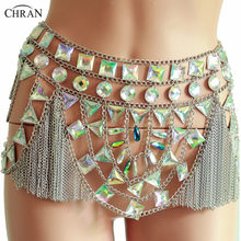 Chran Sexy Mesh Disco Sequin Rok Kwasten Spiegel Bodysuit Jurk Body Chain Exotische Burning Man Rave Outfit(China)