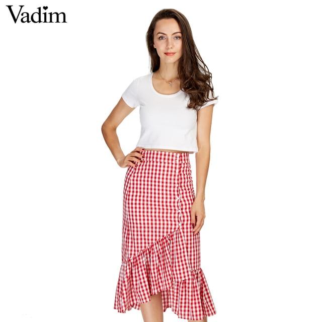 Frauen süße rüschen plaid split röcke mit futter elastische taille tasten damen fashion casual mid-kalb rock BSQ555