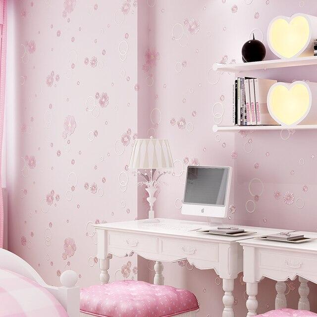 Beautiful Small Flowers Embossed Wallpaper Sweet Baby Girl Bedroom