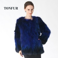 2018 New Fashion Real Raccoon Fur Coat Thick Warm Custom Plus Color and Size Factory Natural Fox Jacket Women Overcoat DNT692
