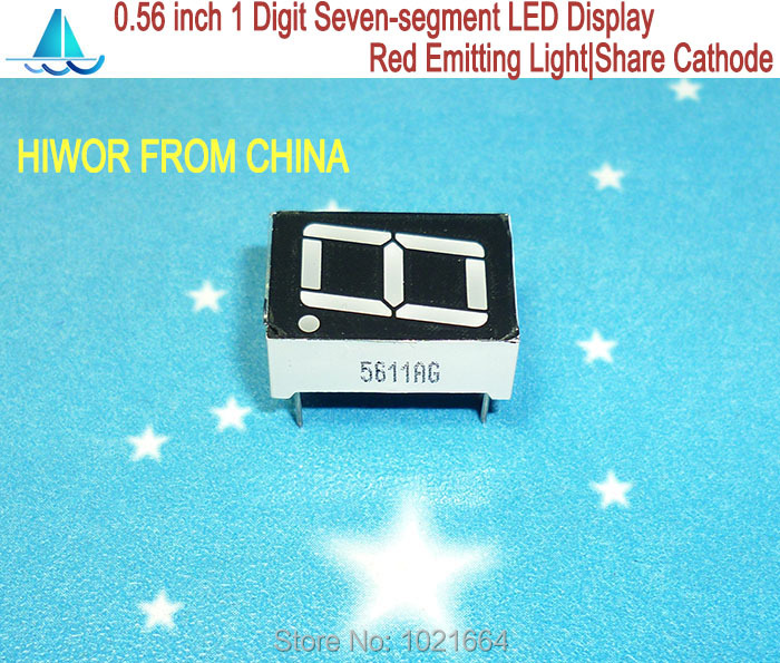 (10pcs/lot) 5611AR 10 Pins 0.56 Inch 1 Digit Bit 7 Segment Red LED Display Share Common Cathode Digital Display