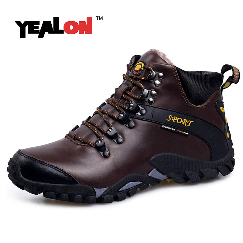 YEALON Winter Sneakers Men Winter Sports Shoes Waterproof Mountain Boots Outdoor Zapatillas Deportivas Hombre Trekking With Fur носки горнолыжные мужские merinofusion winter sports all mountain brid