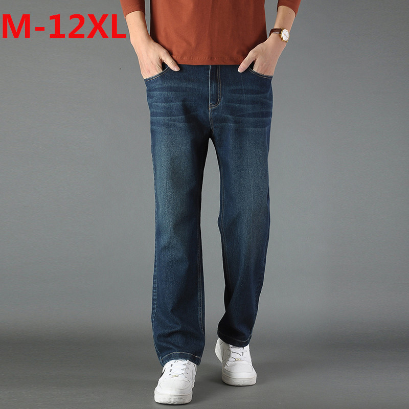 2017plus size Jeans Man Middle-aged Denim Jeans Casual Middle Waist Loose Long Pants Male Solid Straight Jeans For Men Classical afs jeep autumn jeans mens straight denim trousers loose plus size 42 cowboy jeans male man clothing men casual botton