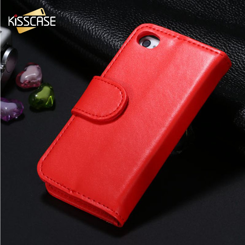 Kisscase monedero de lujo del tirón de la pu leather case para apple iphone 5s S