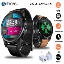 Zeblaze THOR 4 PRO 4G Smartwatch 1.6 inch Crystal Display GPS/GLONASS Quad Core 16GB 600mAh Leather Strap Sport Smart Watch Men(China)