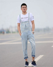 2015 Spring Summer Fashion Casual Men's Denim Bib Pants , Man Cool  Jeans Jumpsuits And Overalls Men Rompers Plus Size S-5XL