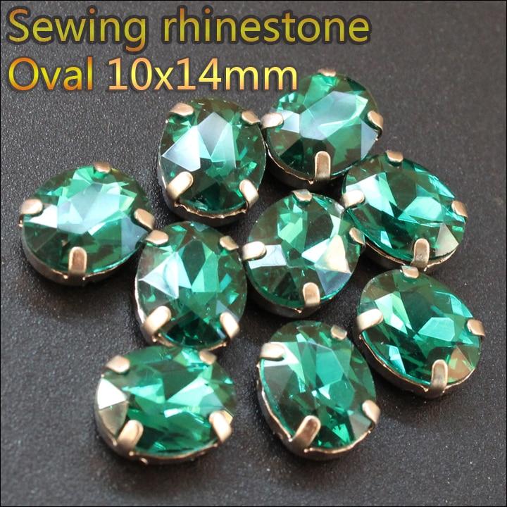 e7c2dc9d19 30 unids lote Esmeralda cristal coser en rhinestones 10x14mm flatback NO  CALIENTE Fix rhinestones de costura dsjktyem